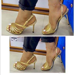 Zara metallic heeled leather sandals NWT
